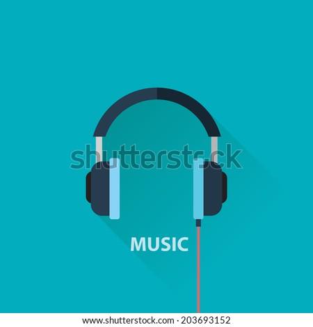 Music headphones flat web icon.Flat design style modern vector illustration. Isolated on stylish color background, flat long shadow design, flat design elements, social technologies, internet - stock vector