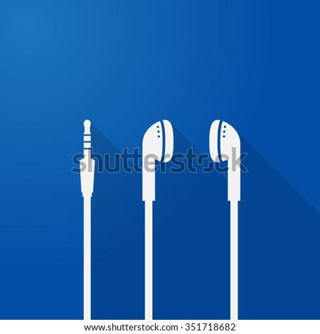 music icon headset earphone headphone flat shadow - stock vector