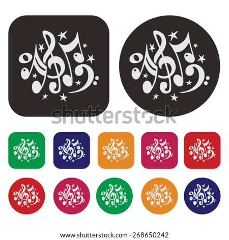 Music icon / music notes icon - stock vector