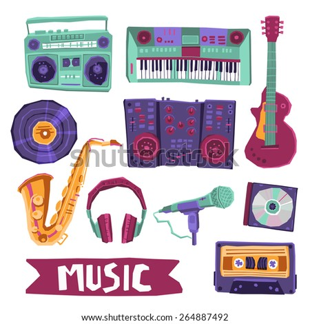 Music icon set with instruments and audio equipment isolated vector illustration - stock vector