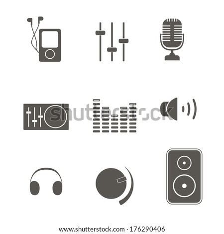 Music icons. - stock vector