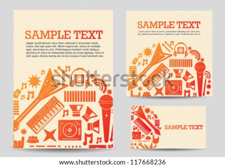 Music icons card template set - stock vector