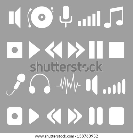 music icons for player. white on grey. - stock vector
