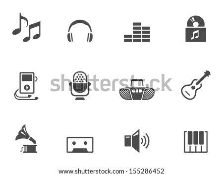 Music icons in black & white - stock vector