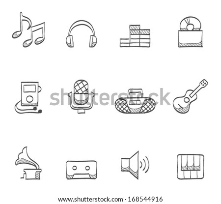 Music icons in sketch. - stock vector