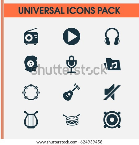 Music Icons Set Collection Silence Lyre Stock Vector 624939458