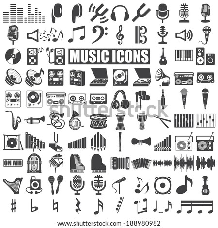 music icons set on white background. Vector - stock vector