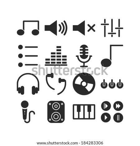 Music Icons Set - Vector Graphics - stock vector