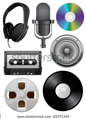Music icons set. Vector illustration. - stock vector