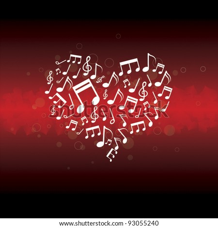 music in heart background - stock vector