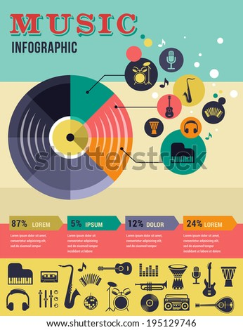 Music infographic and icon set of instruments and data, graphs, text - stock vector