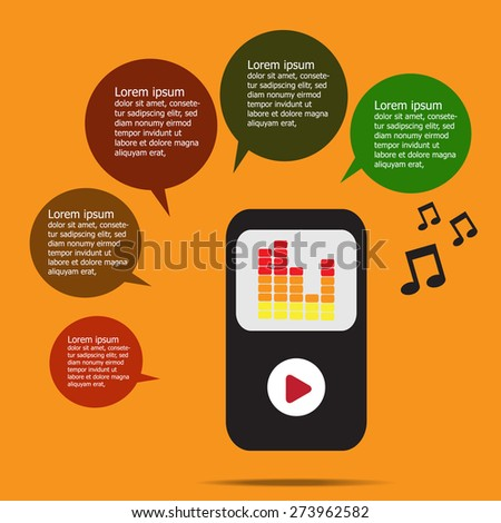 Music infographic with mp3 music player on orange background, Flat design.Vector EPS 10 - stock vector
