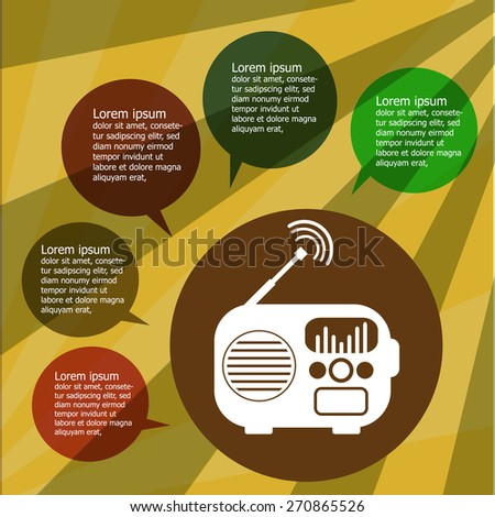 Music infographic with retro radio on vintage background , Flat design.Vector EPS 10 - stock vector