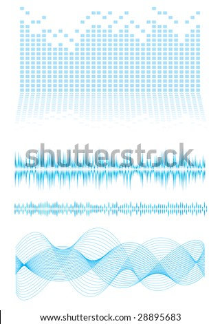 Music inspired background in blue with sound waves and equalizer graph - stock vector