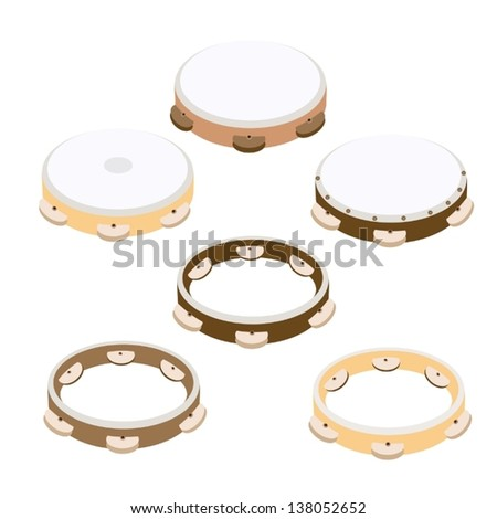 Music Instrument, An Illustration Collection of Different Style and Various Colors of Wooden Tambourines in Vintage Style  - stock vector
