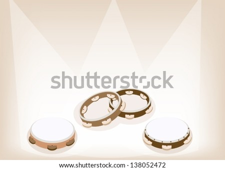 Music Instrument, An Illustration Collection of Three Colors of Beautiful Wooden Tambourines on Vintage Brown Stage Background with Copy Space for Text Decorated   - stock vector