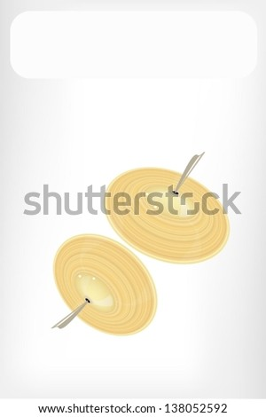 Music Instrument, An Illustration Retro Style of Cymbal or Finger Cymbals with White Label for Text Decorated   - stock vector
