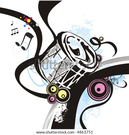 Music instrument background series, vector illustration of a drum with grunge details. - stock vector