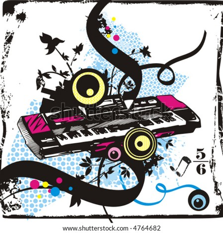 Music instrument background series, vector illustration of a synthesizer with grunge details. - stock vector