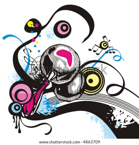 Music instrument background series, vector illustration of castanets with grunge details. - stock vector