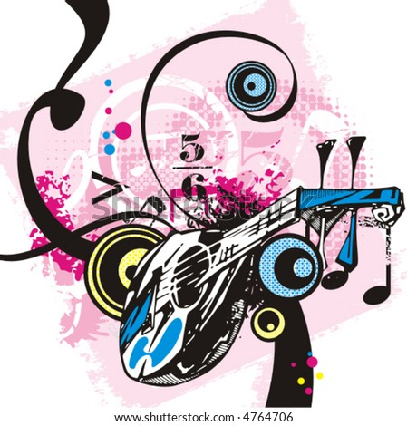 Music instrument background series, vector illustration with grunge details. - stock vector