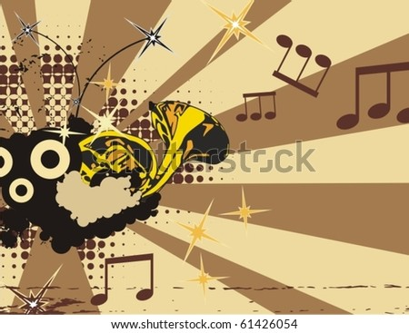 Music instrument background with a horn. - stock vector