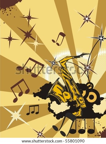 Music instrument background with a saxophone. - stock vector
