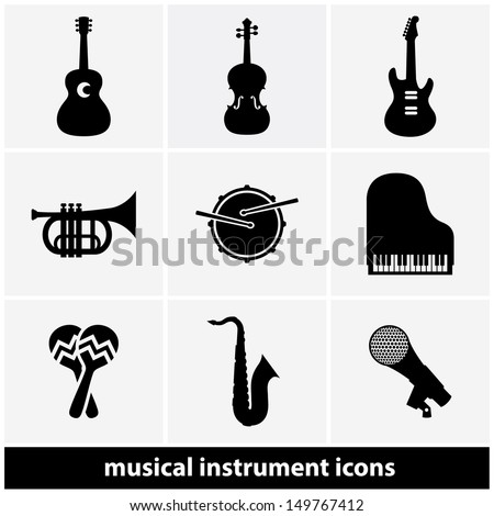 Music Instrument Icon Set - stock vector