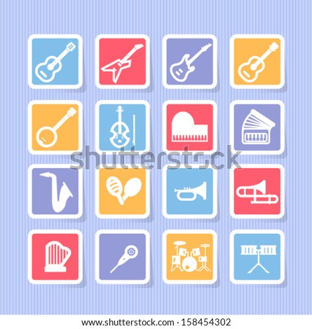 music instrument icons - stock vector