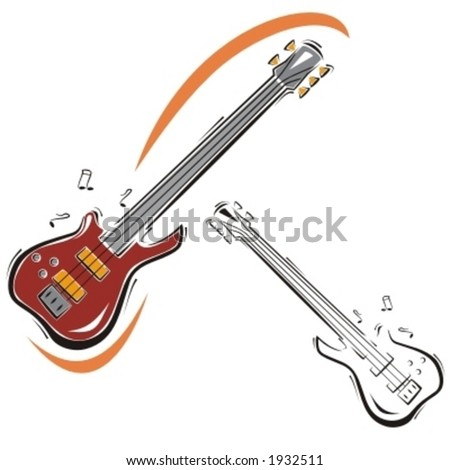Music Instrument Series. Vector illustration of a classic guitar. - stock vector