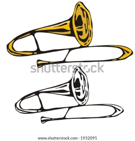 Music Instrument Series. Vector illustration of a trumpet. - stock vector