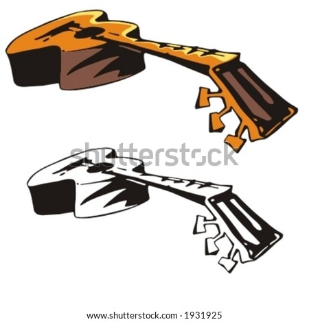 Music Instrument Series. Vector illustrations of a classic guitar. - stock vector