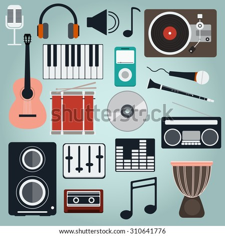 Music Instruments and Gadgets Big icon set. Microphone, Headphones, Tape, Player, Clarinet, Guitar, Drums, Electric Piano, Cd disk, Equalizer, Loudspeakers, Djembe. Digital vector illustration. - stock vector