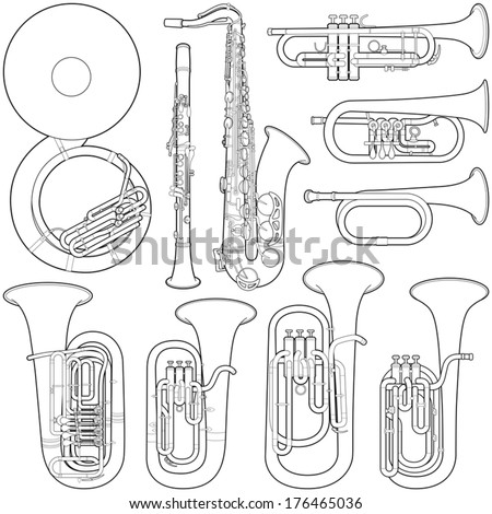 Music instruments collection - vector illustration  - stock vector