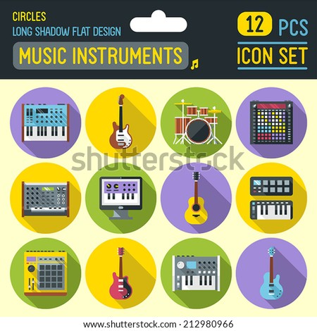 Music instruments flat long shadow circle icon set. Vector trendy illustrations.  - stock vector
