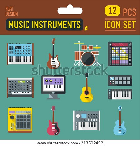 Music instruments flat long shadow icon set. Vector trendy illustrations.  - stock vector