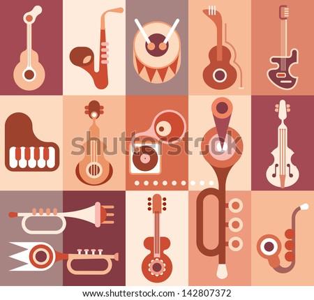 Music instruments guitar, piano, saxophone, violin, trumpet and drum. Vector illustration. - stock vector