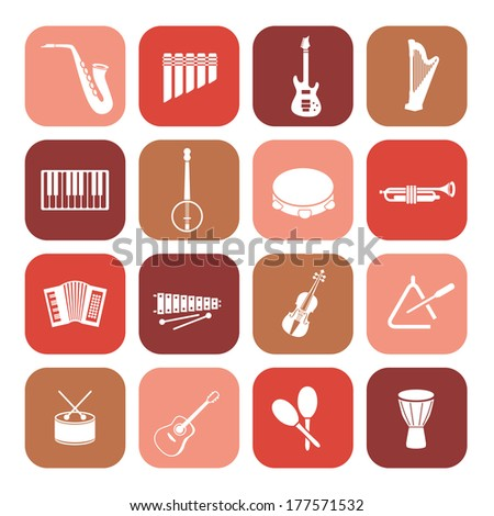 music instruments icons - stock vector