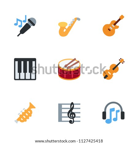 Music Instruments Icons Music Key Keyboard Stock Vector 1127425418