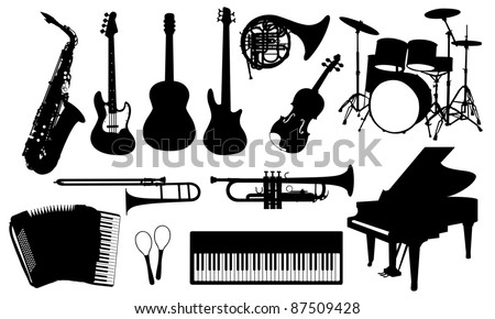 music instruments isolated on white - stock vector