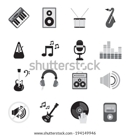 Music instruments , media and sound  icons. Vector illustration. - stock vector