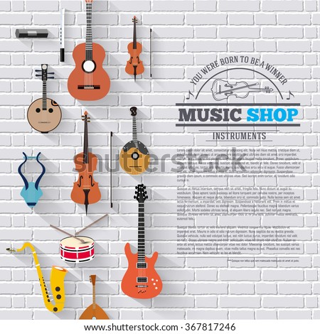 Music instruments on white modern brick wall concept. Icons design for your product or design, web and mobile applications. Vector flat with long shadow illustration background - stock vector