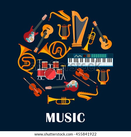 Music instruments or sound equipment. Electric and acoustic guitars, drum kit or trap set and violin, saxophone and lyre, synthesizer and trumpet. Brass, string, woodwind, percussion - stock vector
