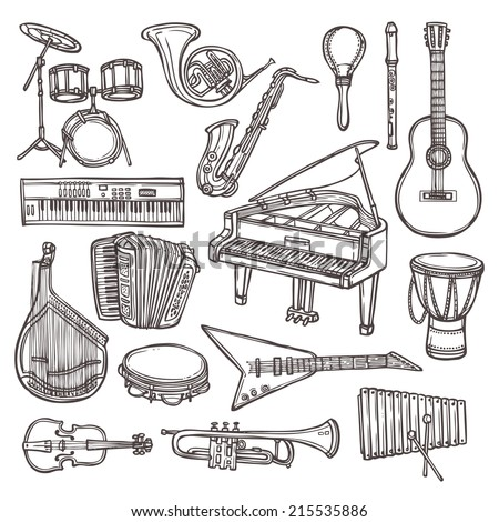 Music instruments sketch icon set with drum violin guitar isolated vector illustration