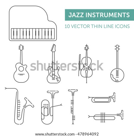 Music instruments. Thin black line vector icons set on white background.