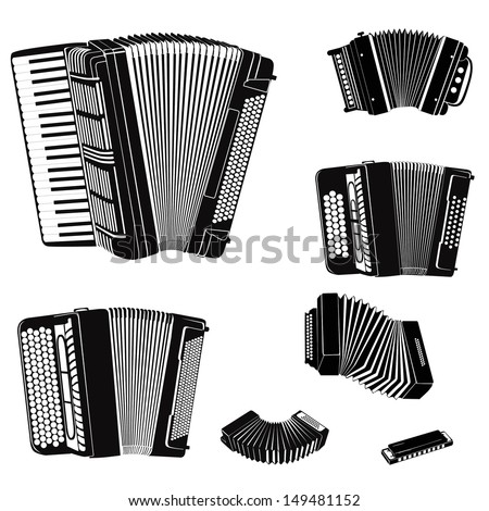 Music instruments vector set. Musical instrument silhouette on white background.  Accordion family music equipment collection. - stock vector