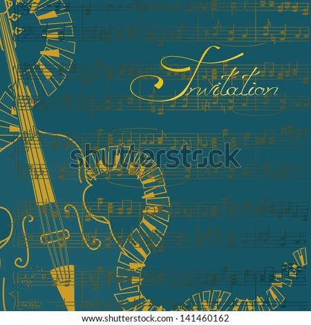 Music invitation or flyer with contrabass and keyboards - stock vector