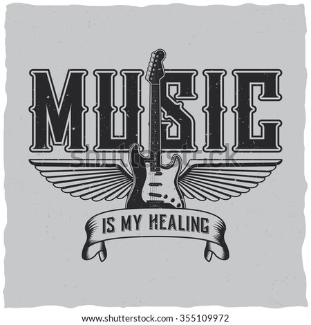 Music is my healing label design for t-shirts, posters, logos, greeting cards etc. - stock vector