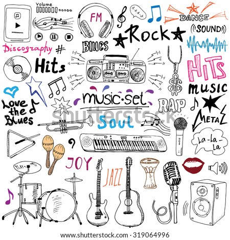 Music items doodle icons set. Hand drawn sketch with notes, instruments, microphone, guitar, headphone, drums, music player and music styles lettering signs, vector illustration, isolated - stock vector
