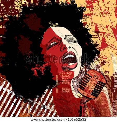 Music Jazz - afro american jazz singer on grunge background - vector illustration - stock vector